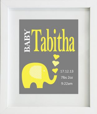 Personalised Baby Birth Statistics with Yellow Elephant Print